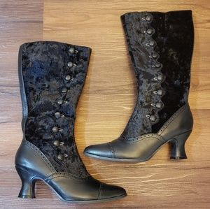 Shoes - Velvet Victorian boots granny boots witch boots